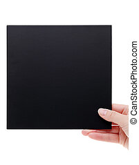 hand holding black board