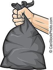 hand holding black plastic trash bag, hand holding garbage bag