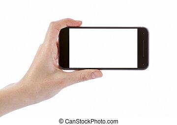 Hand holding black smart phone isolated on white