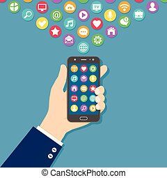 Hand holding black smart phone with colorful application icons on the screen. Mobile application concept. Flat vector illustration.