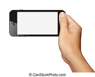 Hand holding Black Smartphone in horizontal on white...