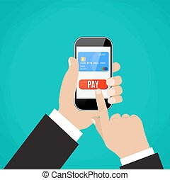 Hand holding black smartphone with bank card