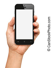 Hand holding Black Smartphone with blank screen on white...