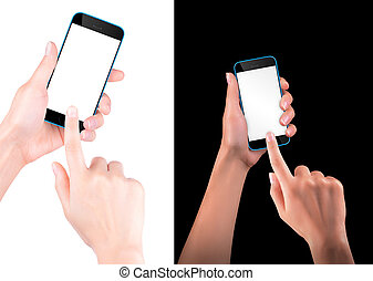 Hand holding Black Smartphone with blank screen - Woman hand...