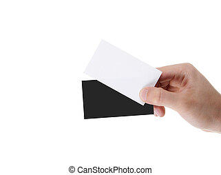 hand holding blank and black business card