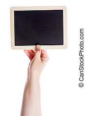 Hand holding blank blackboard