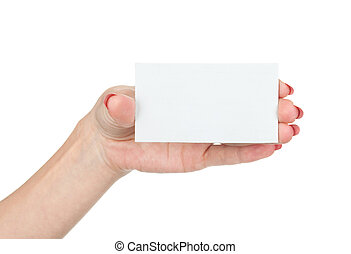 Hand holding blank business card