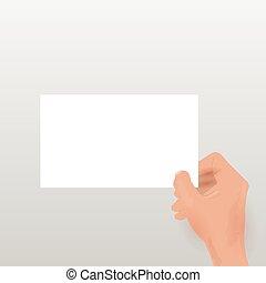 Hand holding blank card