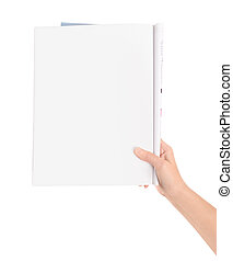 Hand holding magazine with blank page. Isolated on white.