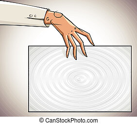 Hand holding blank paper.