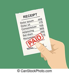 Hand holding blank receipt,