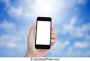 Hand holding blank screen mobile phone with blur blue sky background