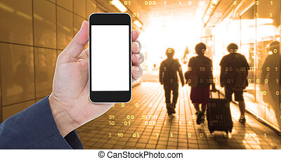 Hand holding blank screen mobile phone with blur digital graphic background