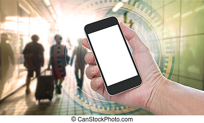 Hand holding blank screen mobile phone with business graphics concept background