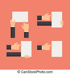 Hand holding blank white banners and hands pointing to empty paper sheet flat vector set