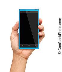 hand holding, blaues, smartphone, mit, leerer schirm