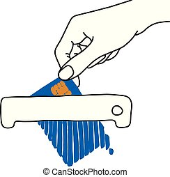hand holding blue credit card on shredder machine vector illustration outline sketch hand drawn with black lines isolated on white background