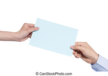 Hand holding blue paper isolated on white
