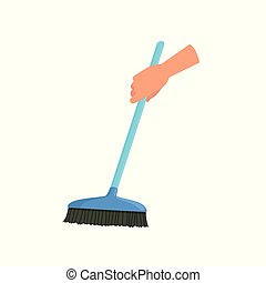 Hand holding blue sweeping broom, human hand with tool for cleaning, housework concept vector Illustration i on a white background