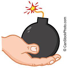 Hand Holding Bomb - White Terrorist Hand Holding A Bomb