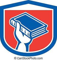 Hand Holding Book Shield Retro