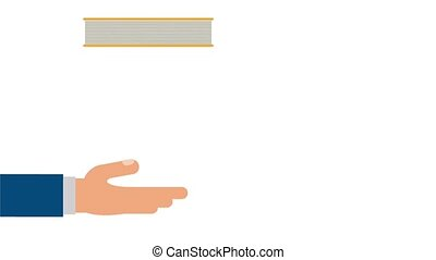 Hand holding books HD animation - Books falling to hand...