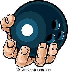 Hand Holding Bowling Ball