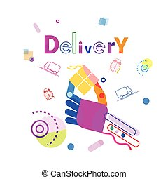 Hand Holding Box Delivery Concept Fast Courier Service Banner