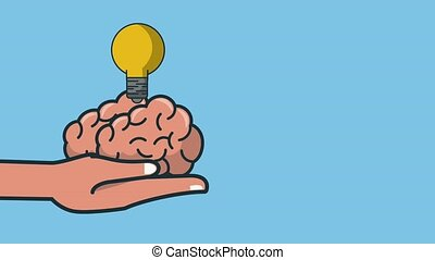 Hand holding brain with idea