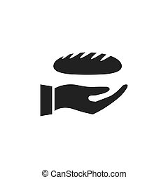 Hand holding bread icon.