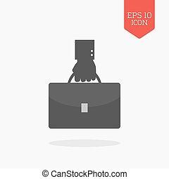 Hand holding briefcase icon. Flat design gray color symbol. Modern UI web navigation, sign.