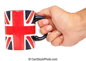 Hand holding british mug