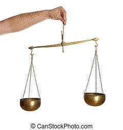 Hand holding bronze balance isolated on white background