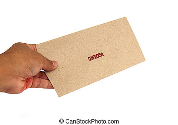 Hand holding Brown envelope with confidential stamp