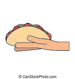 Hand holding burrito