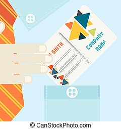 Hand Holding Business Card In Flat Design Style