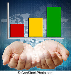 Hand holding business graph investment