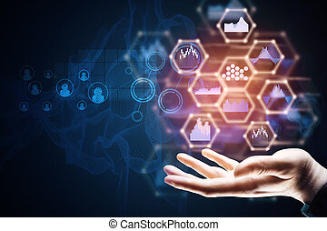 Hand holding business hologram