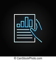 Hand holding Business report vector colored outline icon