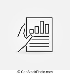 Hand holding Business report vector icon in thin line style