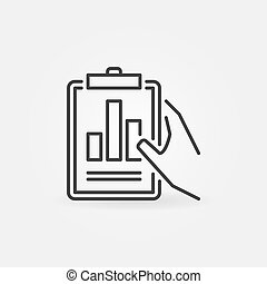Hand holding Business report vector outline icon or sign
