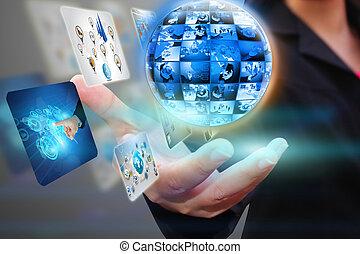 hand holding business world.
