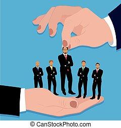 Hand holding businessman