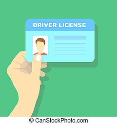 Hand holding car driving licence, id card vector...