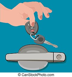 hand holding car keys hear door, vector illustration