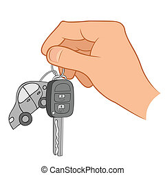 Hand holding car keys illustration - Illustration of a hand...