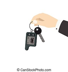 Hand holding car keys vector illustration isolated on white...