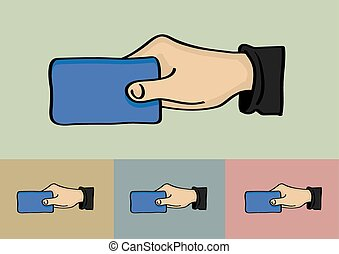 Hand Holding Card Vector Illustration