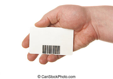 Hand holding card with bar-code