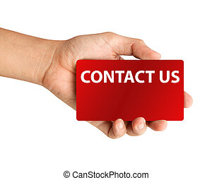 """Hand holding card with inscription """"Contact us"""" on white ..."""